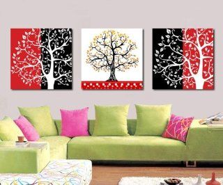 ASIA MODERN ABSTRACT WALL ART PAINTING ON CANVAS NEW Style  (NO FRAME)with Abstract reverse growth happy tree especially leaves  Abstract Canvas With Tree