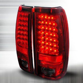 03 04 05 06 Chevy Chevrolet Silverado (except 3500) LED Tail Lights   Smoke Red (Pair) Automotive