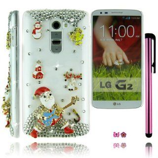 FiMeney Best Christmas Gift Luxury Handmade Rock N Roll Crystal Diamond Rhinestones Santa Claus Father Christmas Little Snowman Bell House Elk Christmas Candy Clear Transparent Back Hard Protective Case Cover Shell For LG G2 Sprint LS980/ AT&T D800/ T