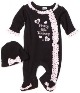 Baby Essentials Baby girls Newborn 2 Piece Pretty like Mommy Footie With Cap, Black, 0 3 Months Infant And Toddler Bodysuit Footies Clothing
