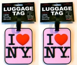 Set of 2 I Love New York Pink Luggage Tags I heart NY Bag ID Tags Clothing