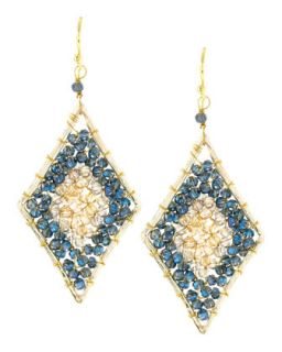 Diamond Shape Crystal Beaded Earrings, Bronze/Jet