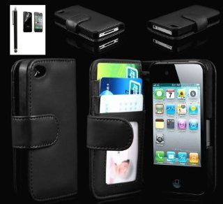 Fletronmall Black iPhone 4 4S Wallet Credit ID Card Flip Leather Pouch Case Cover 4GS 4G with Free Screen Protector and Stylus Cell Phones & Accessories