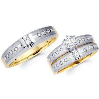 14k Two Tone Gold Engagement Ring His and Hers Wedding Band Trio Wedding Set (0.46 ctw, . GH Color, SI Clarity) Jewelry
