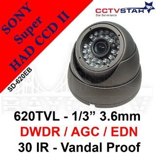 CCTVSTAR SD 620EB WHITE 1/3 SONY SUPER HAD CCD II 3.6MM FIXED LENS TRU 620TVL TRU WDR /SUPER IR 30 WIDE ANGLE LEDS 3 AXIS DAY/NIGHT VANDAL  PROOF DOME CAMERA  Camera & Photo