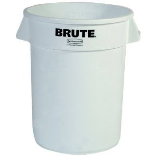 Rubbermaid Commercial FG263200WHT Brute LLDPE Heavy Duty Trash Can without Lid, 32 gallon, White