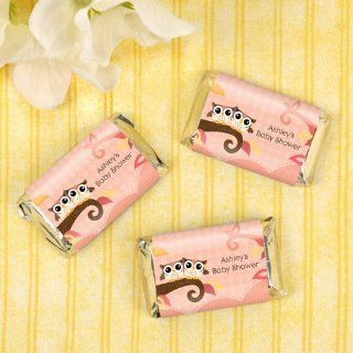 Owl Girl   Look Whooo's Having A Baby   20 Mini Candy Bar Wrapper Sticker Labels   Personalized Baby Shower Favors Toys & Games