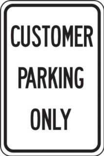 "Accuform Signs FRP243RA Engineer Grade Reflective Aluminum Designated Parking Sign, Legend ""CUSTOMER PARKING ONLY"", 12"" Width x 18"" Length x 0.080"" Thickness, Black on White"