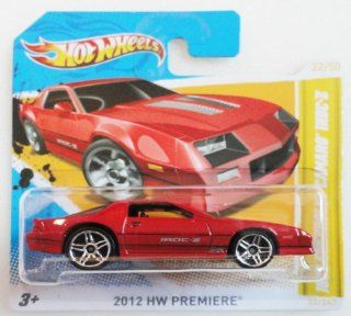1985 CHEVROLET CAMARO IROC Z (RED) * 2012 Hot Wheels #22/244 HW Premiere 164 scale car on SHORT CARD