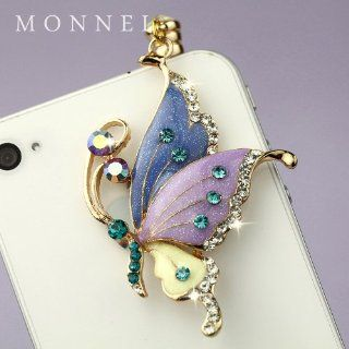 ip242 Cute Purple Butterfly Anti Dust Plug Cover Charm for iPhone 3.5mm Cell Phone Cell Phones & Accessories