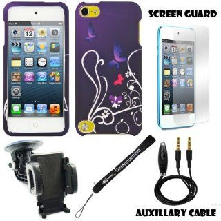 Purple Butterfly Floral 2 piece Cover Shield Protector Case For Apple iPod Touch 5 ( 5th Generation) 32GB, 64GB + 3.5mm Stereo Audio Cable With Built In Microphone + 360� Car Rotatable Windshield Mount Kit + Anti Glare Screen Protector Guard + an eBigValue