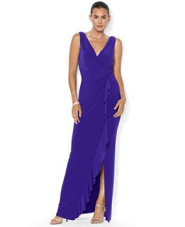Lauren Ralph Lauren Sleeveless Draped Gown   Dresses   Women