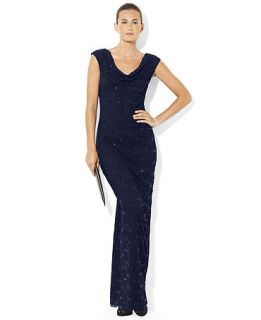 Lauren Ralph Lauren Sleeveless Drape Neck Sequined Lace Gown   Dresses   Women