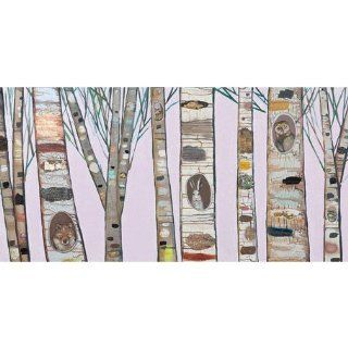 Oopsy daisy Birch Trees on Light Pink Canvas Wall Art by Eli Halpin, 48x24 in  Nursery Wall Decor  Baby