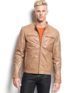 Calvin Klein Faux Leather Moto Jacket   Coats & Jackets   Men