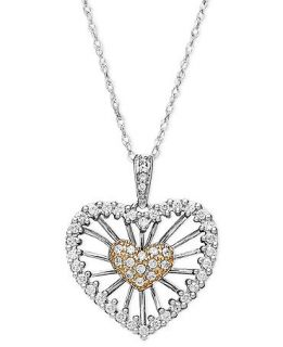 Diamond Heart Pendant, 14k White Gold and Rose Gold Diamond Heart Pendant (1/3 ct. t.w.)   Necklaces   Jewelry & Watches