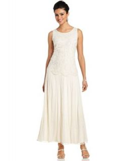 Pisarro Nights Dress, Sleeveless Beaded Lace Gown   Dresses   Women