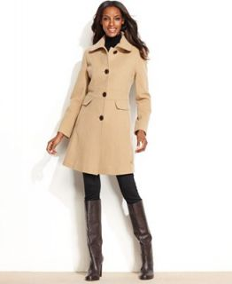 Kenneth Cole Reaction Wool Blend Seamed Walker Coat   Coats   Women