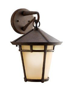 Kichler Lighting Kichler 9053AGZ Melbern 1 Light Outdoor Wall Lantern, Aged Bronze with Light Umber Etched Glass   Wall Porch Lights