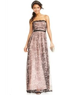 Adrianna Papell Dress, Strapless Ruched Lace Print Gown   Dresses   Women