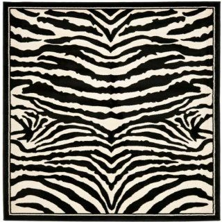 Safavieh Lyndhurst Collection LNH226A Black and White Square Area Rug, 6 Feet Square   Zebra Rug