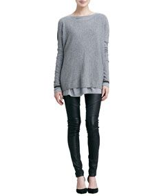 Vince Colorblock Crewneck Sweater, Boat Neck Tee & Moto Leather Pants