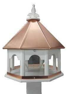 Large Octagon Wild Bird Feeder Solid Cellular PVC Clear Copper Roof  Patio, Lawn & Garden