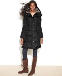 Kenneth Cole Reaction Hooded Faux Fur Trim Quilted Puffer Coat   Coats   Women