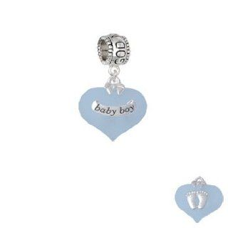 Baby Boy Blue Heart with Baby Feet Godmother Charm Dangle Bead Jewelry
