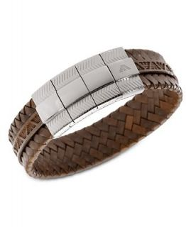 Emporio Armani Mens Bracelet, Braided Brown Leather Bracelet EGS1535040   Fashion Jewelry   Jewelry & Watches