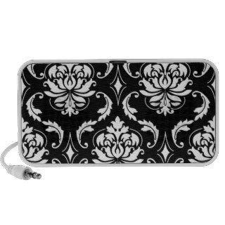 Black and White Vintage Damask Pattern Notebook Speakers