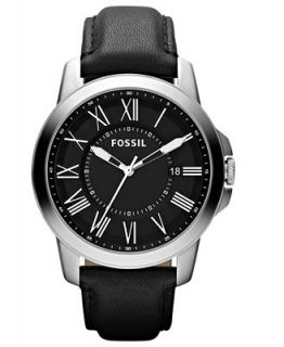 Fossil Mens Grant Black Leather Strap Watch 44mm FS4745   Watches   Jewelry & Watches