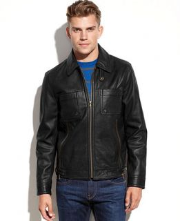 Kenneth Cole Reaction Coat, Washed Leather Jacket   Coats & Jackets   Men