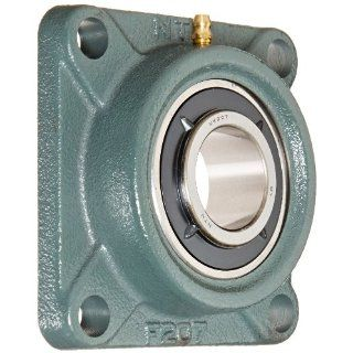 "NTN UKF207D1 Light Duty Flange Bearing, 4 Bolts, Adapter Mounted, Regreasable, Contact and Flinger Seals, Cast Iron, 30mm Bore, 3 5/8"" Bolt Hole Spacing Width, 4 19/32"" Height Flange Block Bearings"