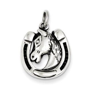 Sterling Silver Antiqued Horseshoe And Horse Head, Best Quality Free Gift Box Satisfaction Guaranteed Pendant Necklaces Jewelry