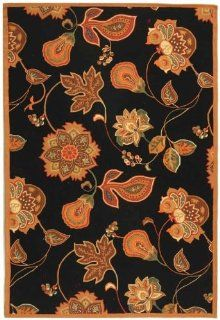 Safavieh Chelsea Collection HK209C Hand Hooked Black and Orange Wool Area Rug, 5 Feet 3 Inch by 8 Feet 3 Inch