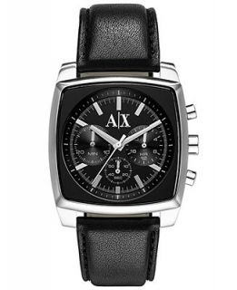 AX Armani Exchange Watch, Mens Chronograph Black Leather Strap 40mm AX2250   Watches   Jewelry & Watches