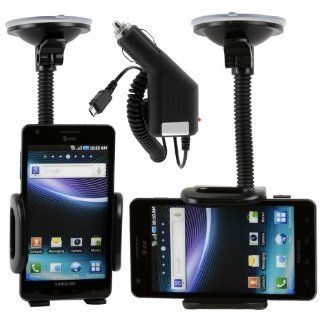 Samsung Infuse 4G (At&t) Adjustable Car Windshield Dash Mount Cradle Holder Kit + Micro USB Rapic Car Charger SGH i997 Cell Phones & Accessories