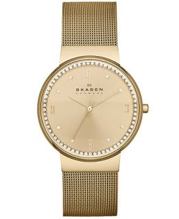 Skagen Denmark Womens Gold Tone Stainless Steel Mesh Bracelet Watch 34mm SKW2129   Watches   Jewelry & Watches