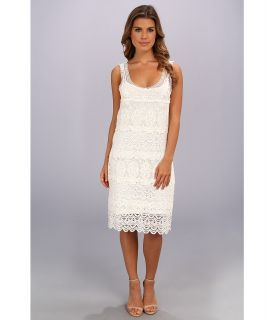 Adrianna Papell Sleeveless Scoop Neck Dress w/ Tiered Crochet Lace Womens Dress (White)