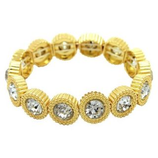 Womens Stretch Bracelet with Round Links with Center Stones   Gold/Clear (7