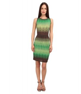 M Missoni Sheer Intarsia Zig Zag Sleeveless Dress Womens Dress (Brown)