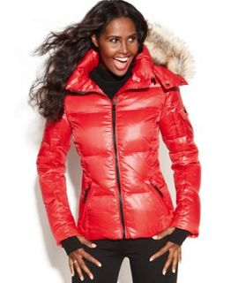 S13/NYC Hooded Faux Fur Trim Quilted Puffer Coat   Coats   Women