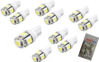Zone Tech 10x 194 168 2825 5 smd White High Power SUPER BRIGHT LED Car Lights Bulb Automotive