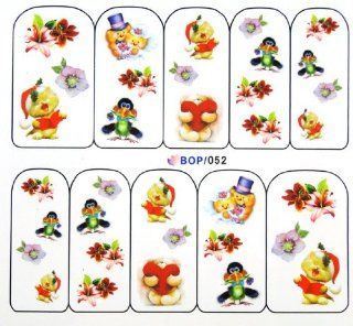 Egoodforyou BLE Water Slide Water Transfer Nail Tattoo Nail Decal Sticker Oil Portray (Love Bears) with one packaged nail art flower sticker bonus  Beauty