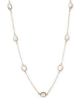 14k Gold over Sterling Necklace, Labradorite Bezel Set Station Necklace (36 ct. t.w.)   Necklaces   Jewelry & Watches