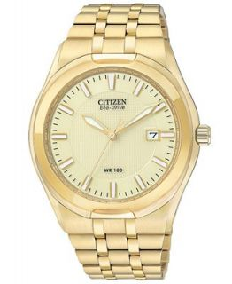 Citizen Mens Eco Drive Corso Gold Tone Stainless Steel Bracelet Watch 39mm BM6842 52P   Watches   Jewelry & Watches