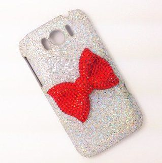 Silver Special Party Cute Bling Red Bow Diamond Case Cover For HTC sensation XL G21 Cell Phones & Accessories