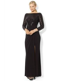 Lauren Ralph Lauren Plus Size Long Sleeve Sequined Gown   Dresses   Plus Sizes