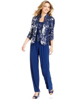 Alex Evenings Petite Suit, Three Quarter Sleeve Jacket, Top & Pants   Dresses   Women